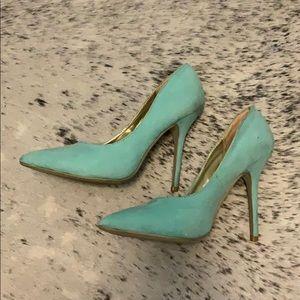 Mint green suede high heels